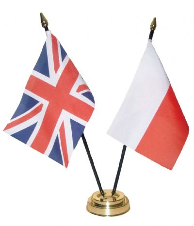 UNION JACK / POLAND - Table Flag Set with GOLDEN BASE
